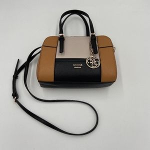 Guess Tan Black and Creme Crossbody Purse